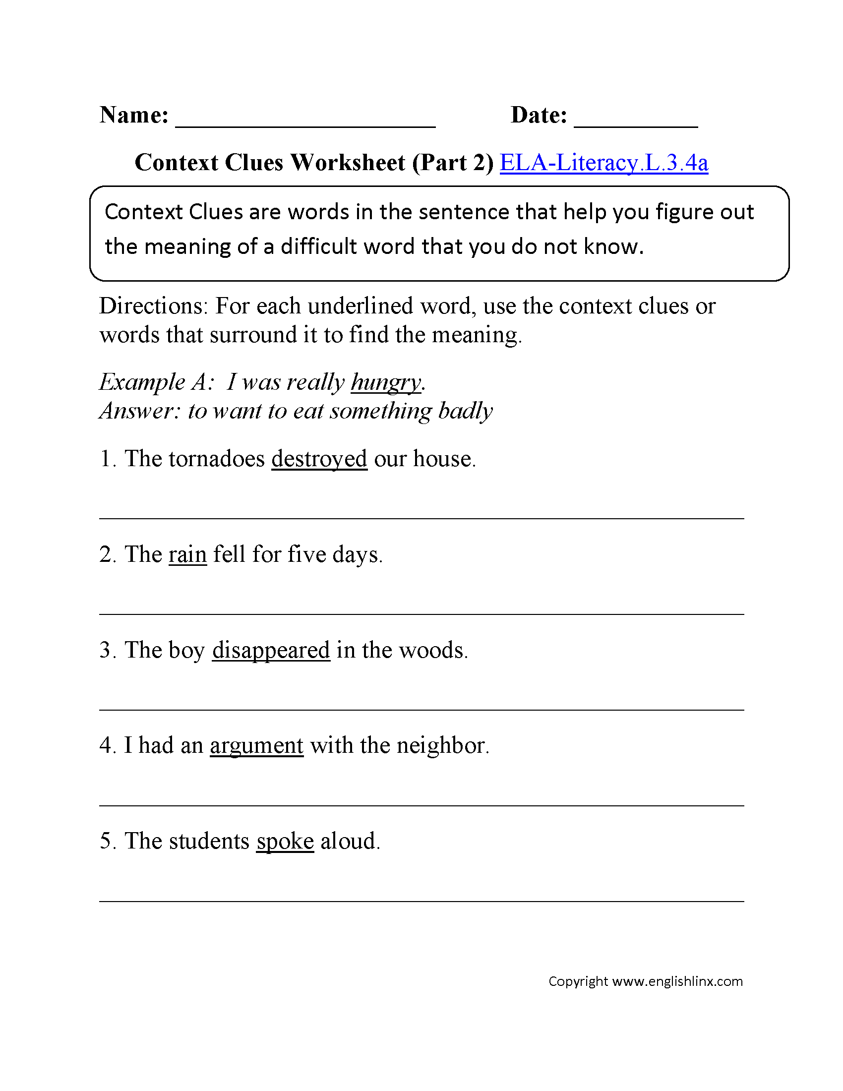 Context Clues Worksheet 2 ELA-Literacy.L.3.4a Language Worksheet