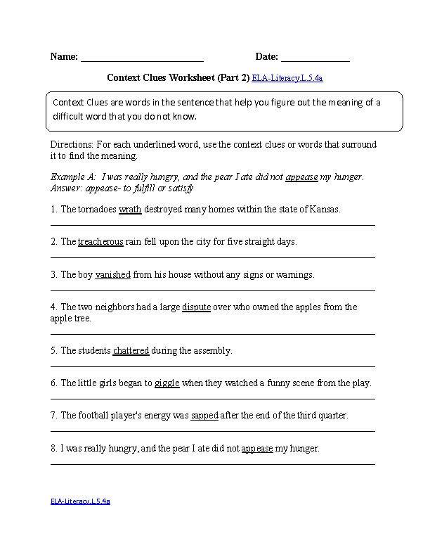 Context Clues 2 ELA-Literacy.L.5.4a Language Worksheet
