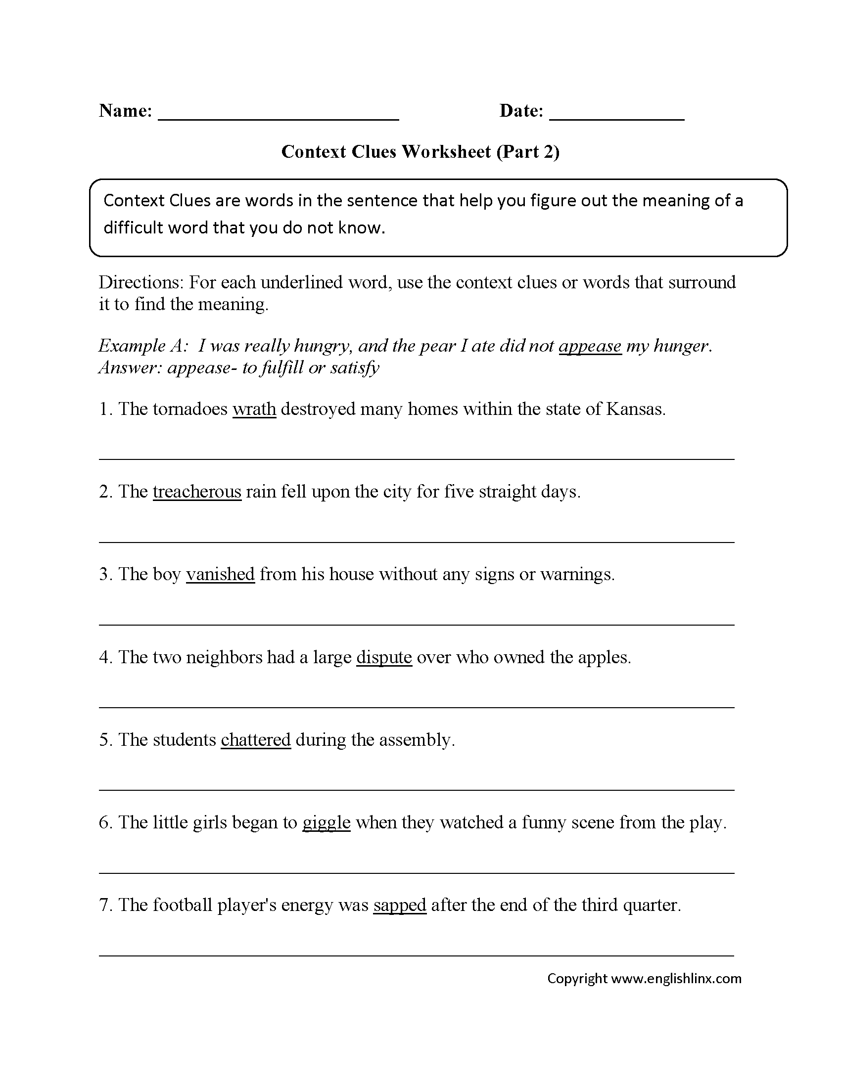 Worksheet Context Clues englishlinx com context clues worksheets part 2 intermediate