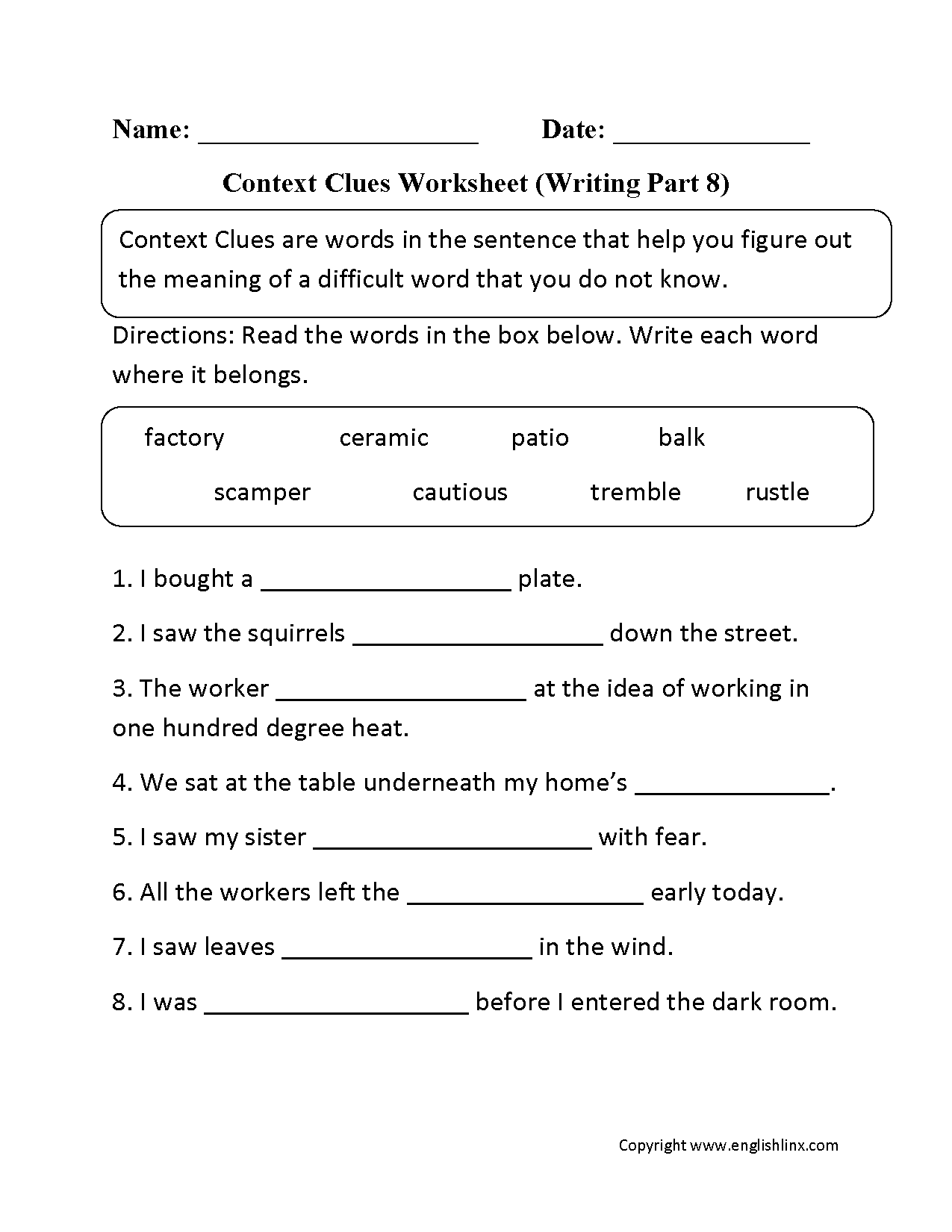 Worksheets Context Clues Worksheets context clues worksheets worksheet writing part 8 intermediate