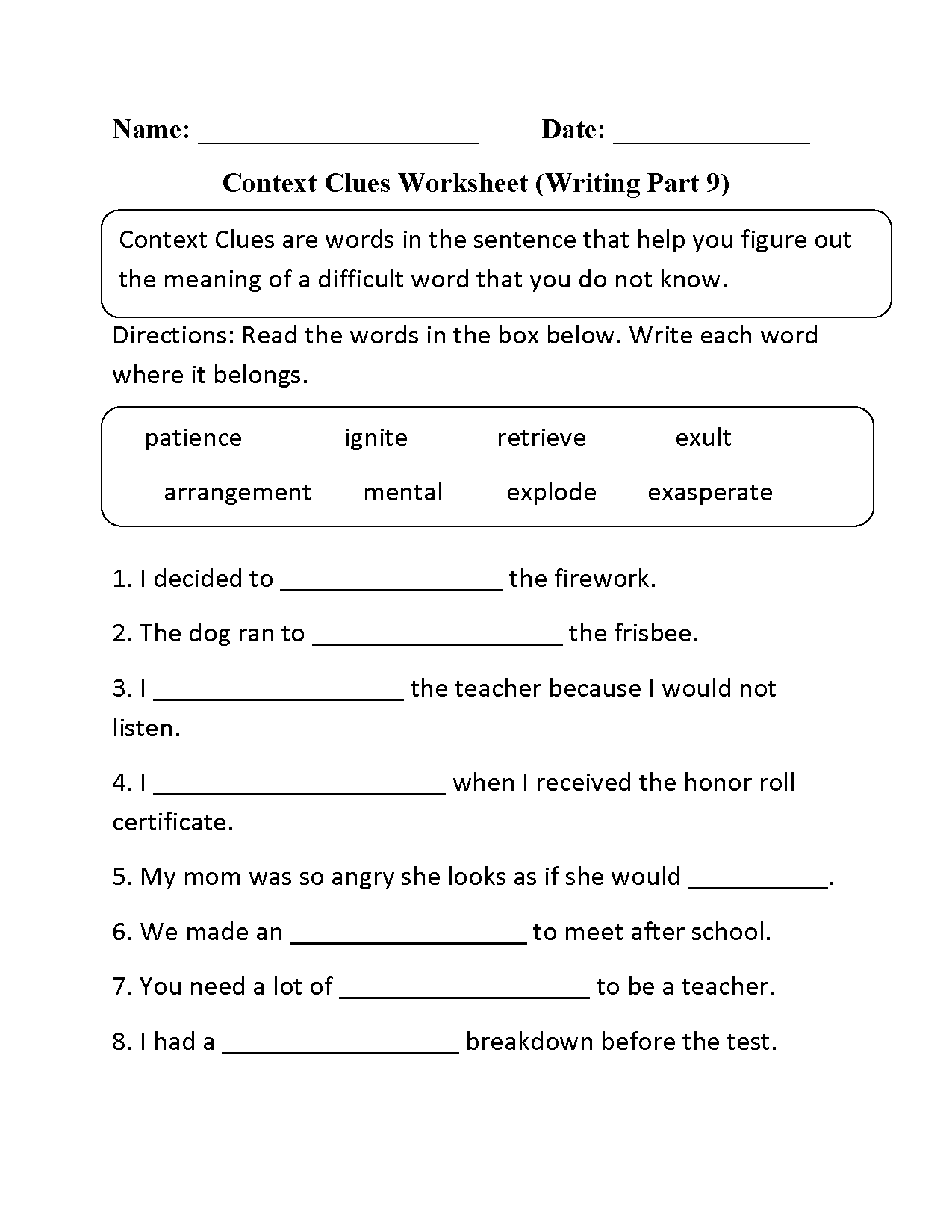 Context Clues Worksheet (fill in the blank and explain) | TpT