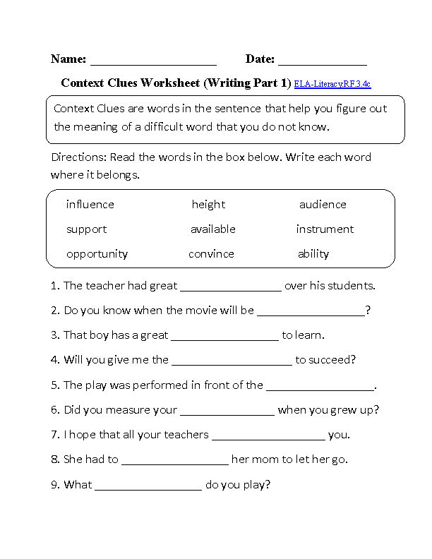 English Worksheets – Reading Worksheets for 3rd Grade
