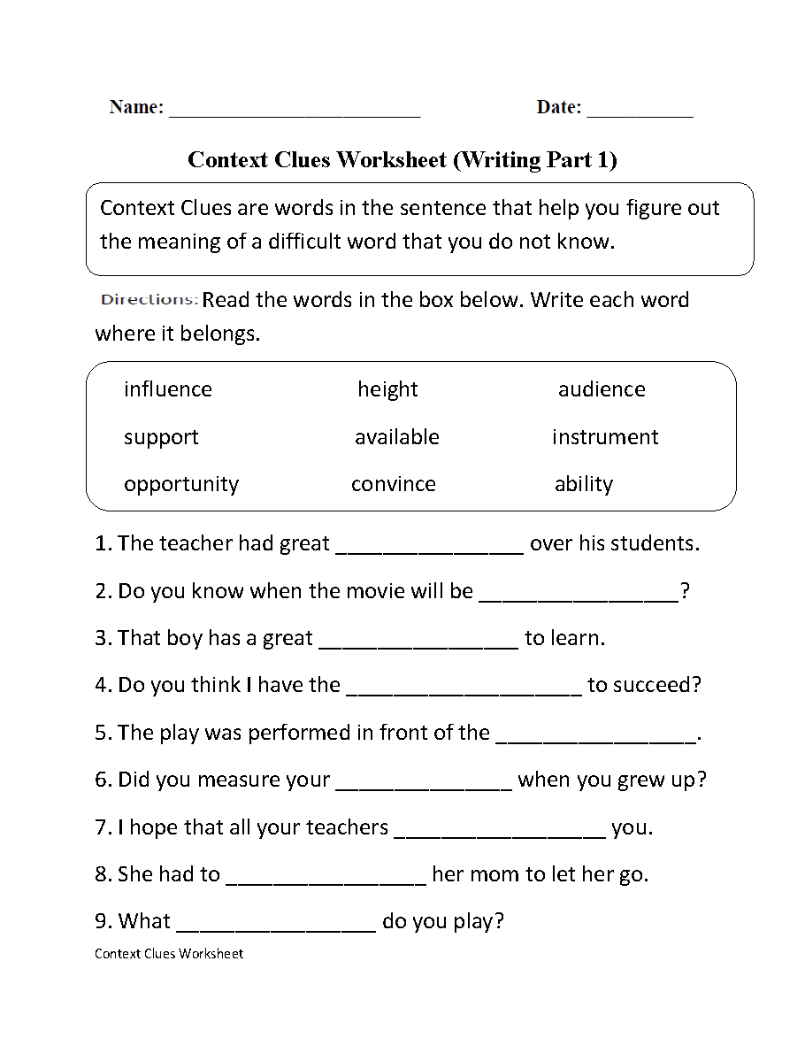 Context Clues Worksheets – Writing Worksheets for Grade 1