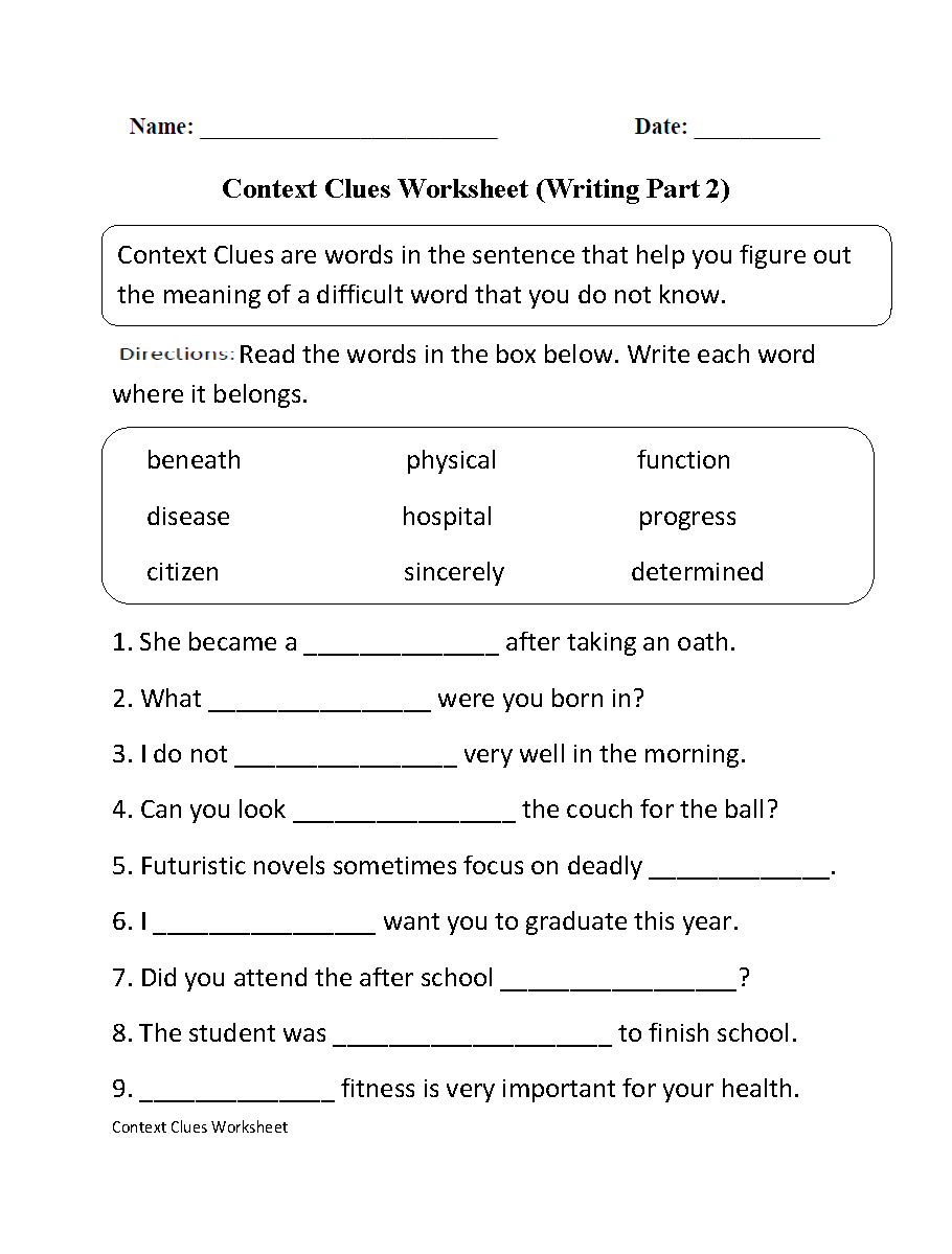 Context Clues Worksheet: Englishlinx com   Context Clues Worksheets,