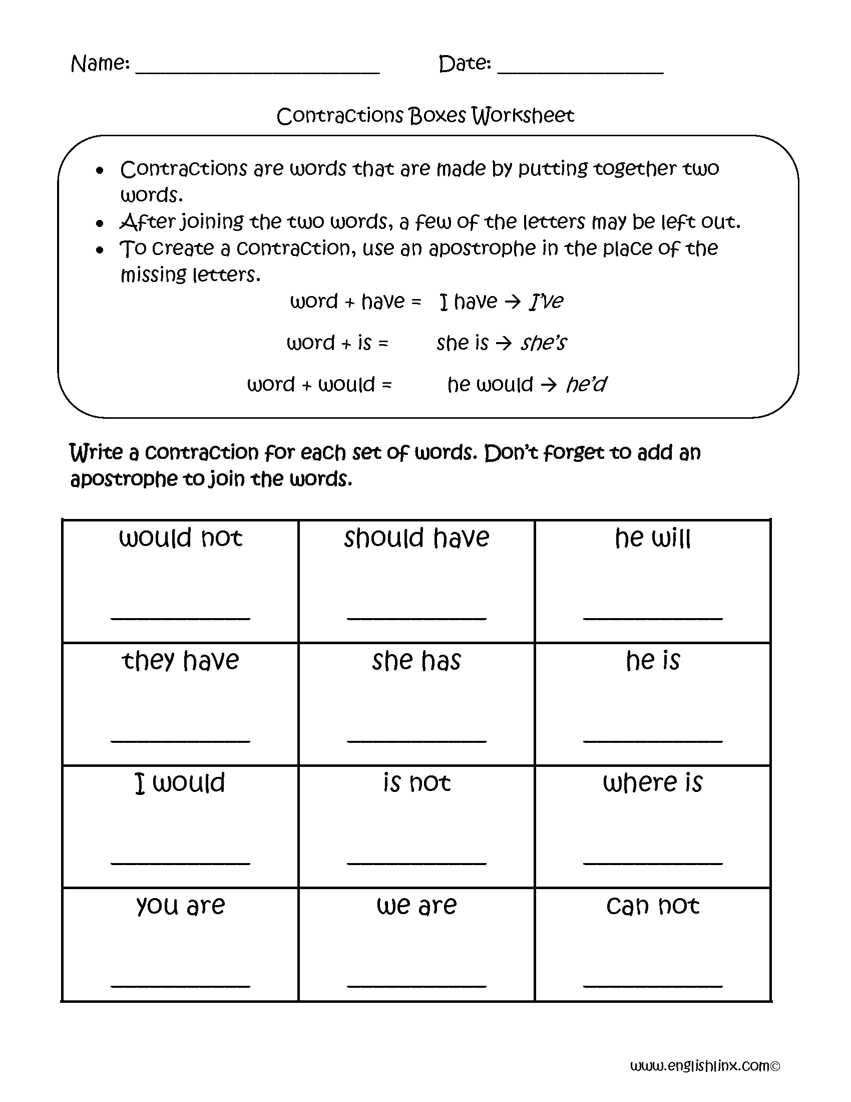 worksheet Contraction Worksheets For First Grade englishlinx com contractions worksheets boxes worksheets