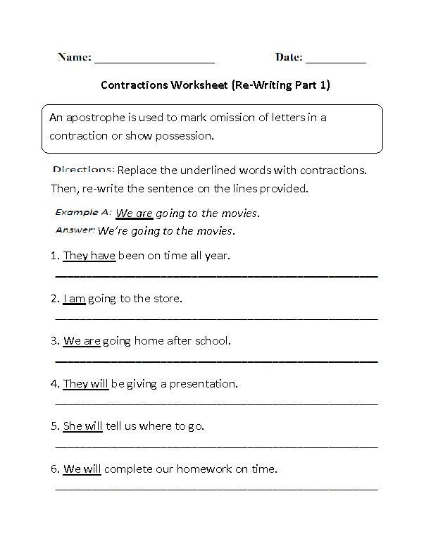 Worksheet On Contractions Free Worksheets Library – Contraction Worksheets