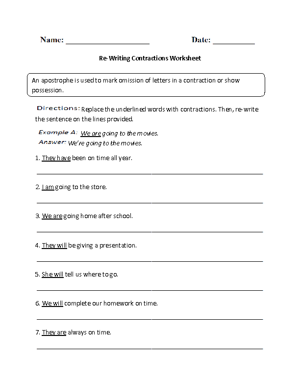 Re-Writing Contractions Worksheet