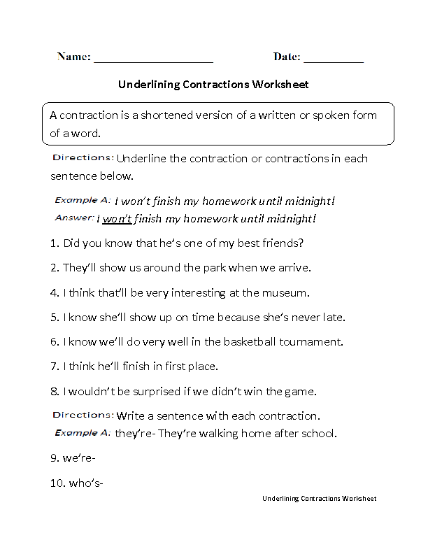 Underlining Contractions Worksheet