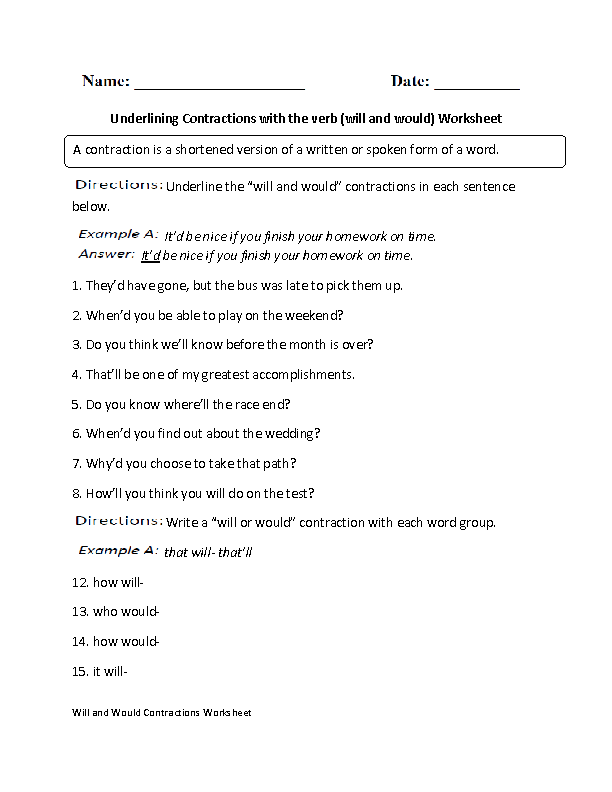 will and would Contractions Worksheet