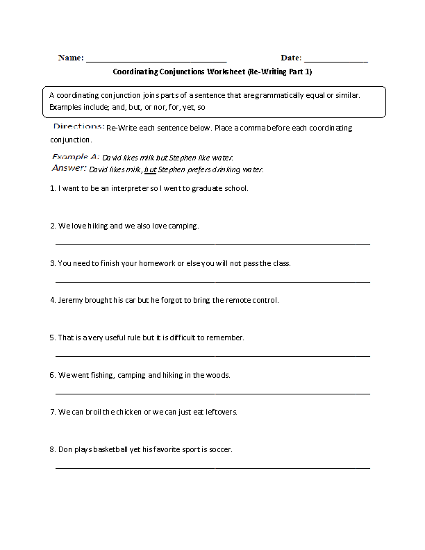 Coordinating Conjunctions Re-Writing Worksheet
