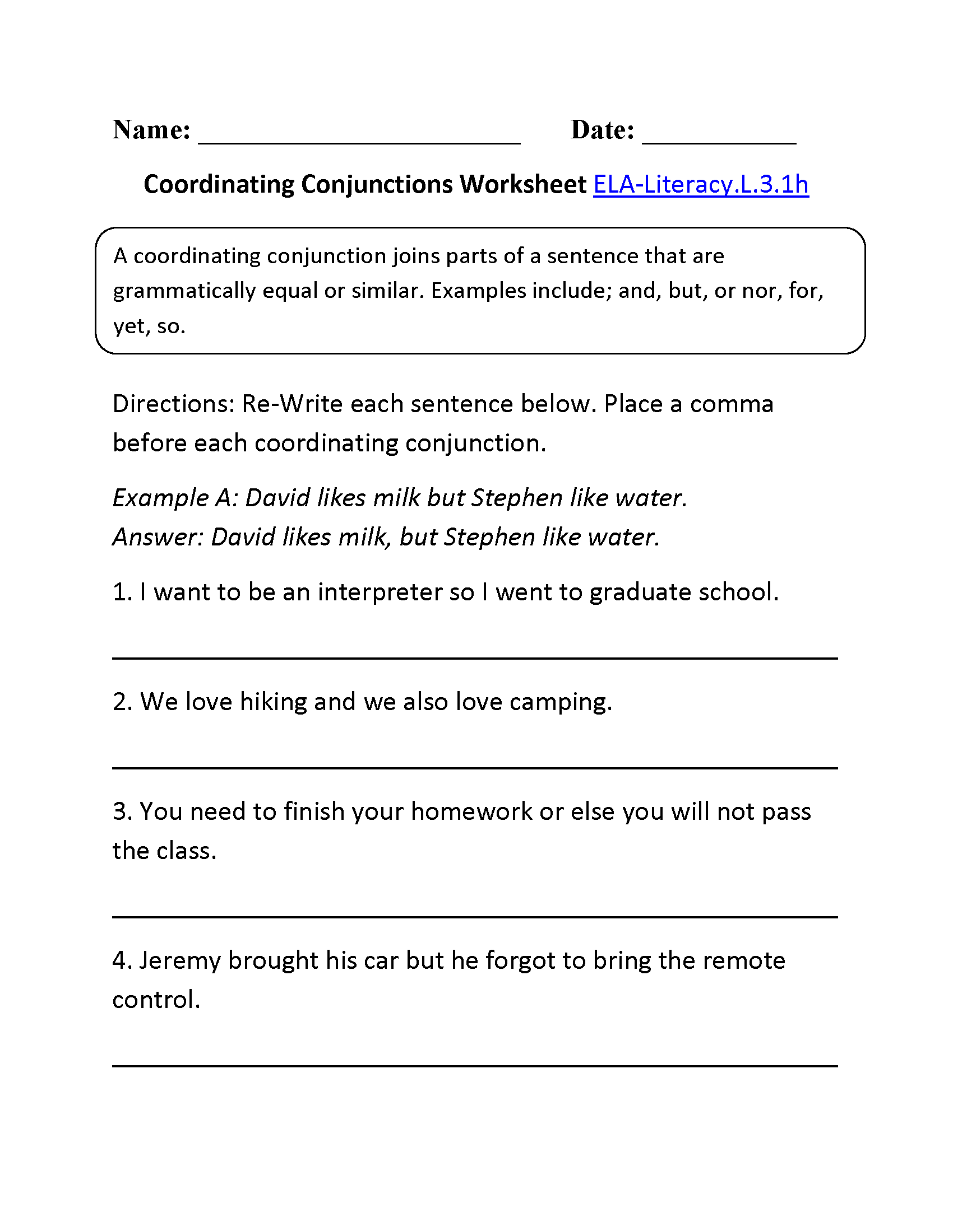 ... Conjunctions Worksheet 2 ELA-Literacy.L.3.1h Language Worksheet