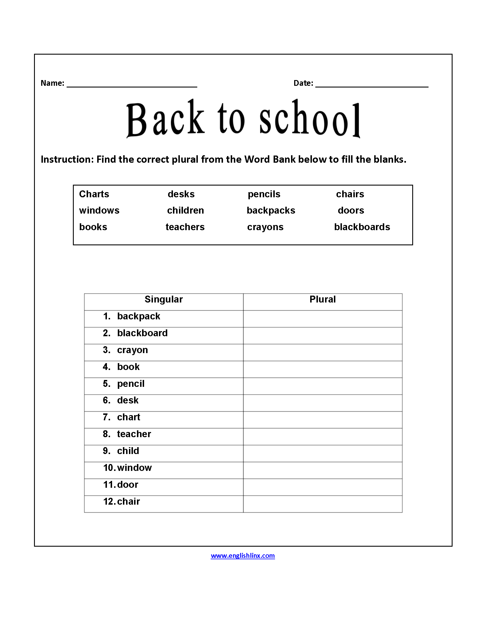 Printables School Worksheet englishlinx com back to school worksheets correct plurals worksheets