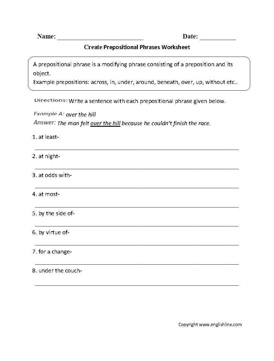 Parts of a Sentence Worksheets | Prepositional Phrase Worksheets