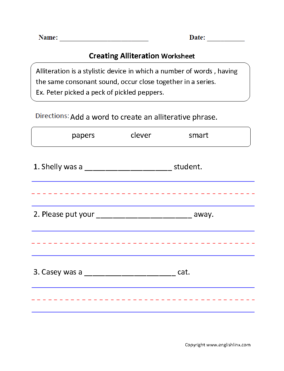 Creating Alliteration Worksheet