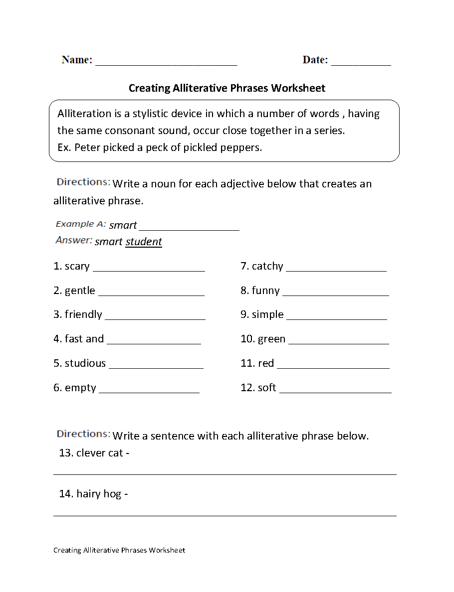 Creating Alliterative Phrases Worksheet