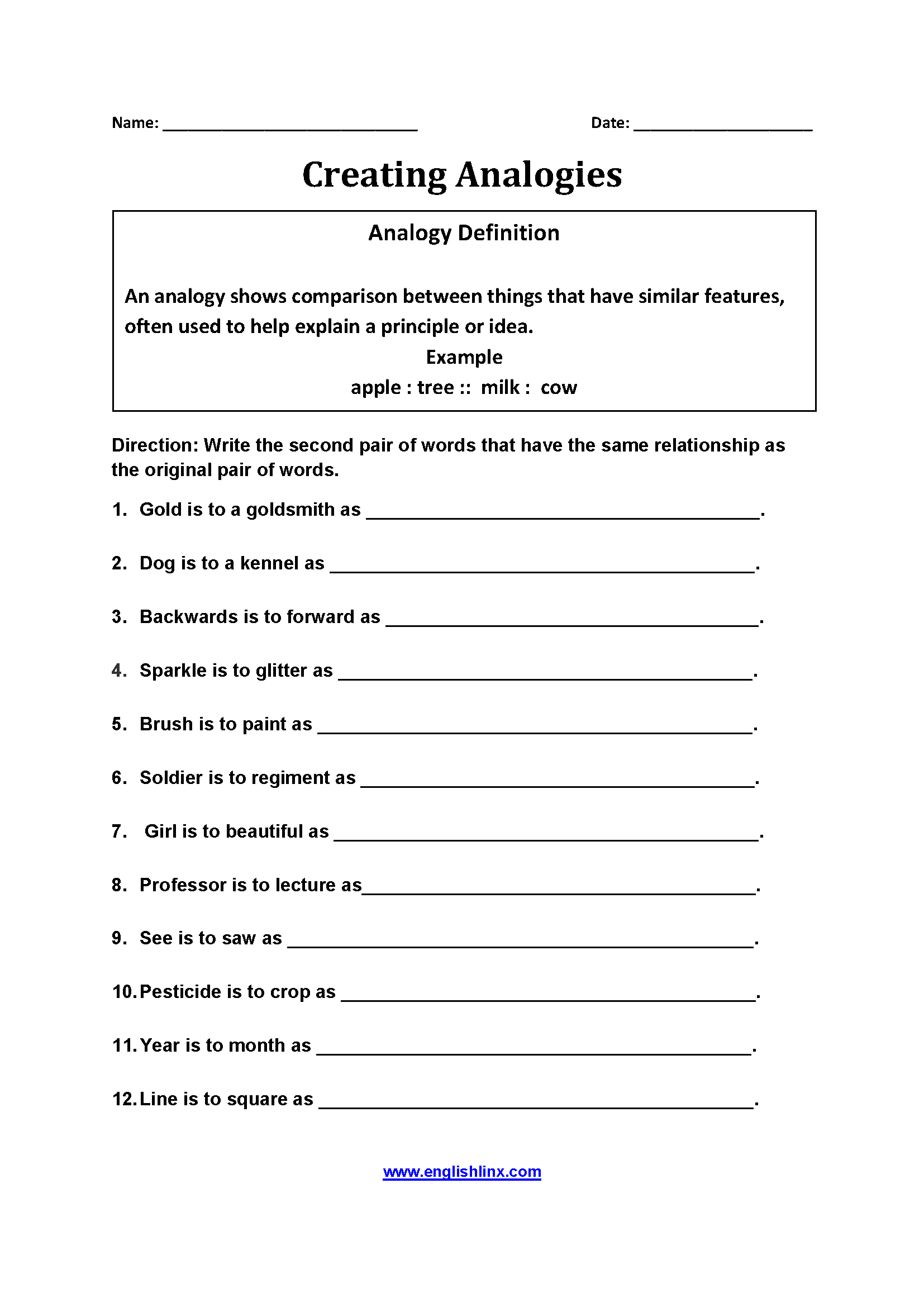 Englishlinx Com Analogy Worksheets