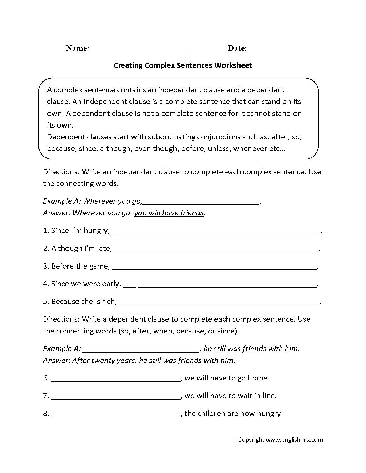 Sentences Worksheets – Independent and Subordinate Clauses Worksheet