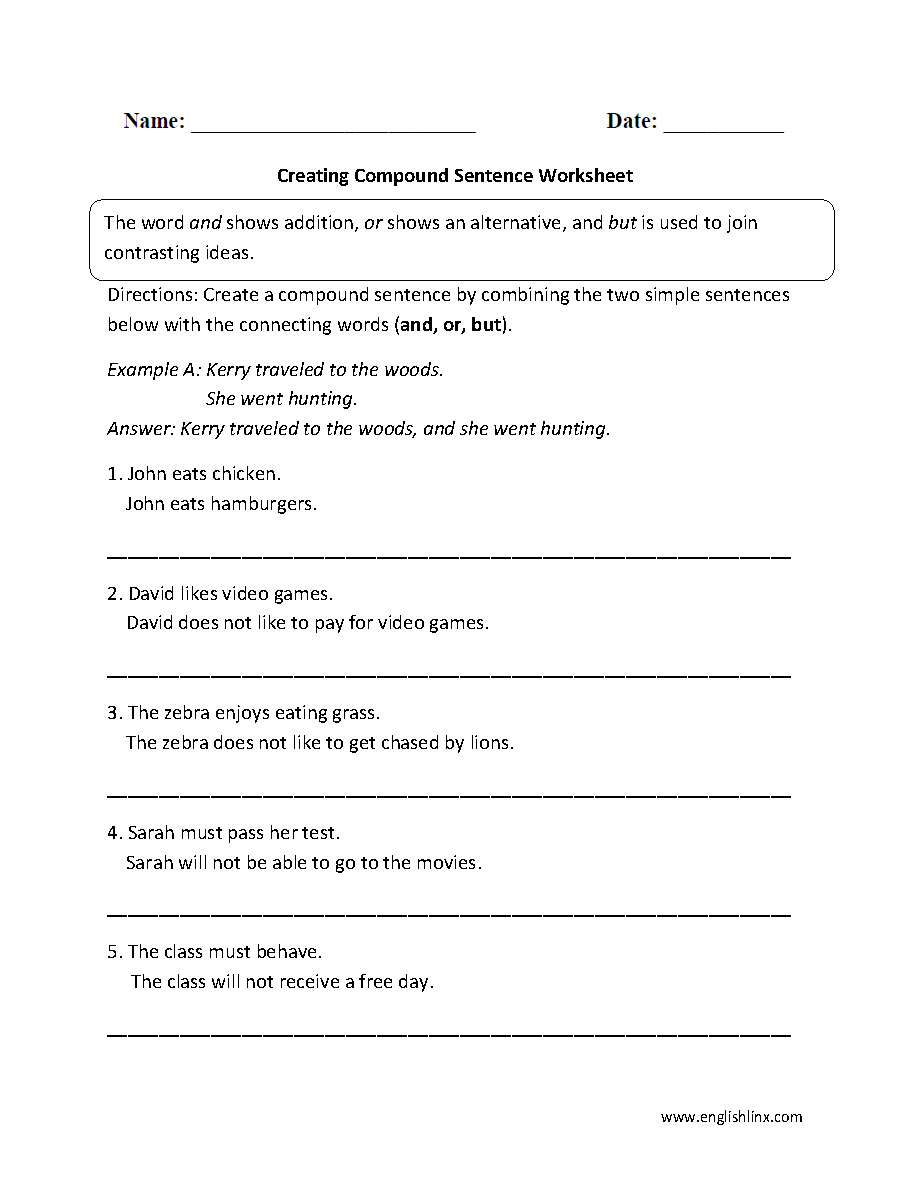 Creating Compound Sentence Worksheet