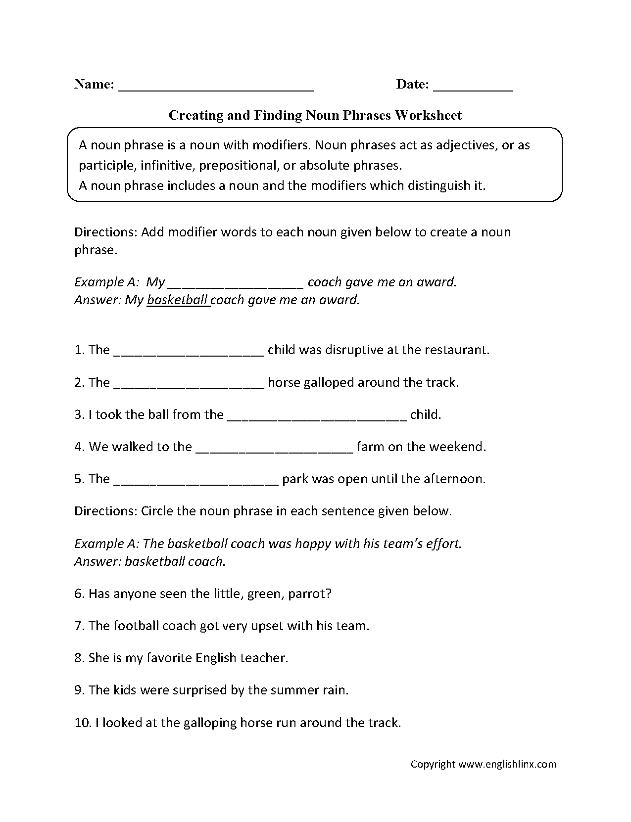 Nouns Worksheets | Noun Phrases Worksheets