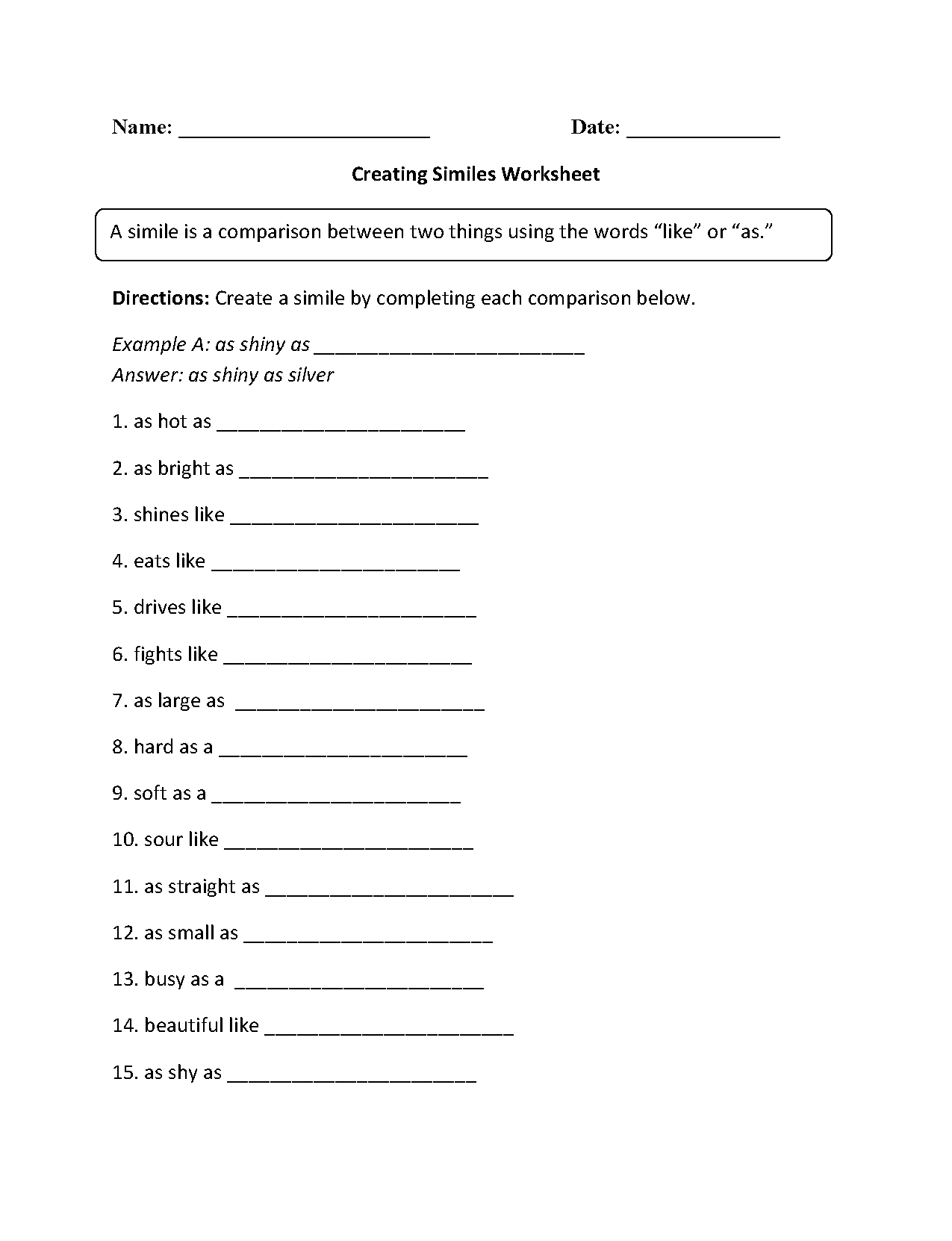 worksheet Metaphors And Similes Worksheets englishlinx com similes worksheets simile worksheet