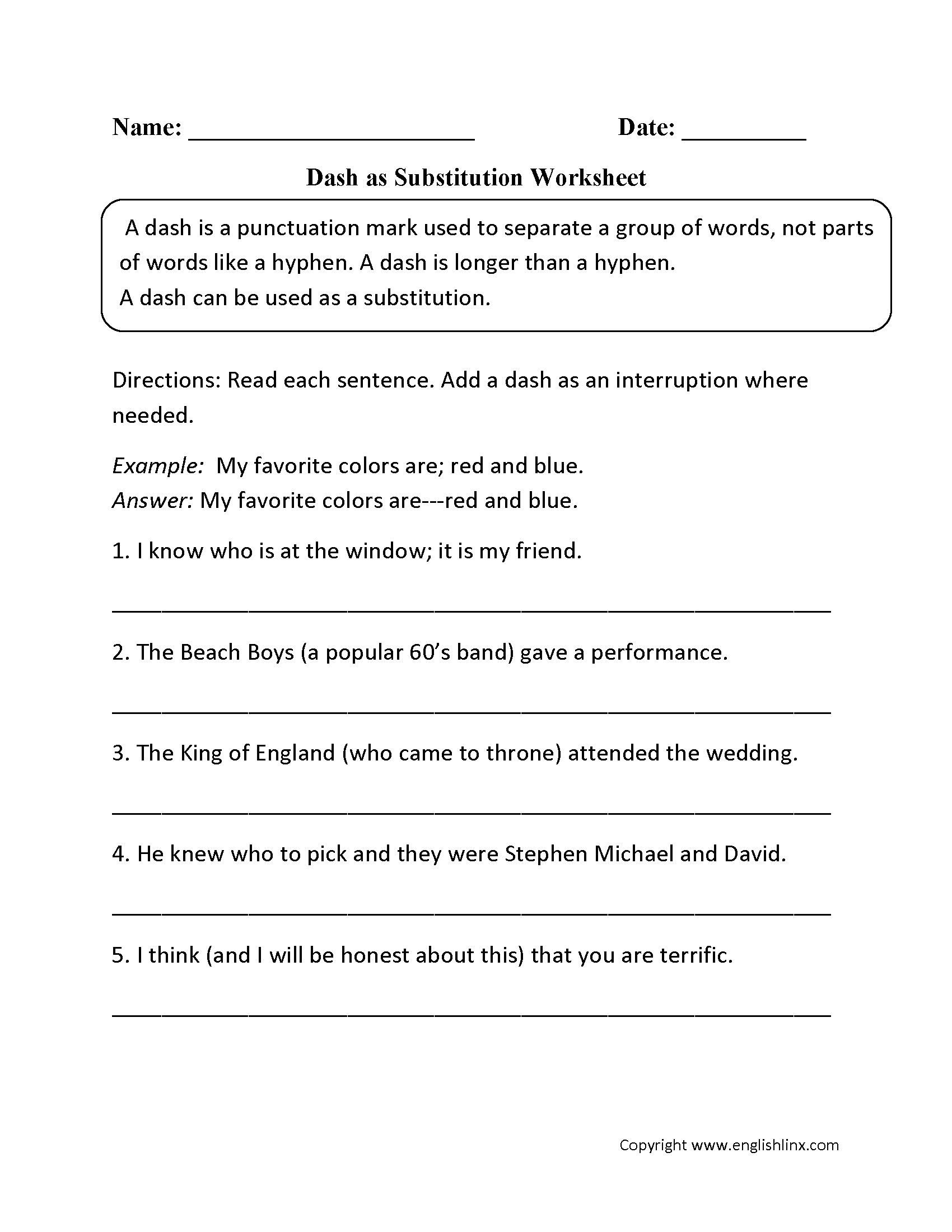 Printables Substitution Worksheet punctuation worksheets dash as substitution worksheet