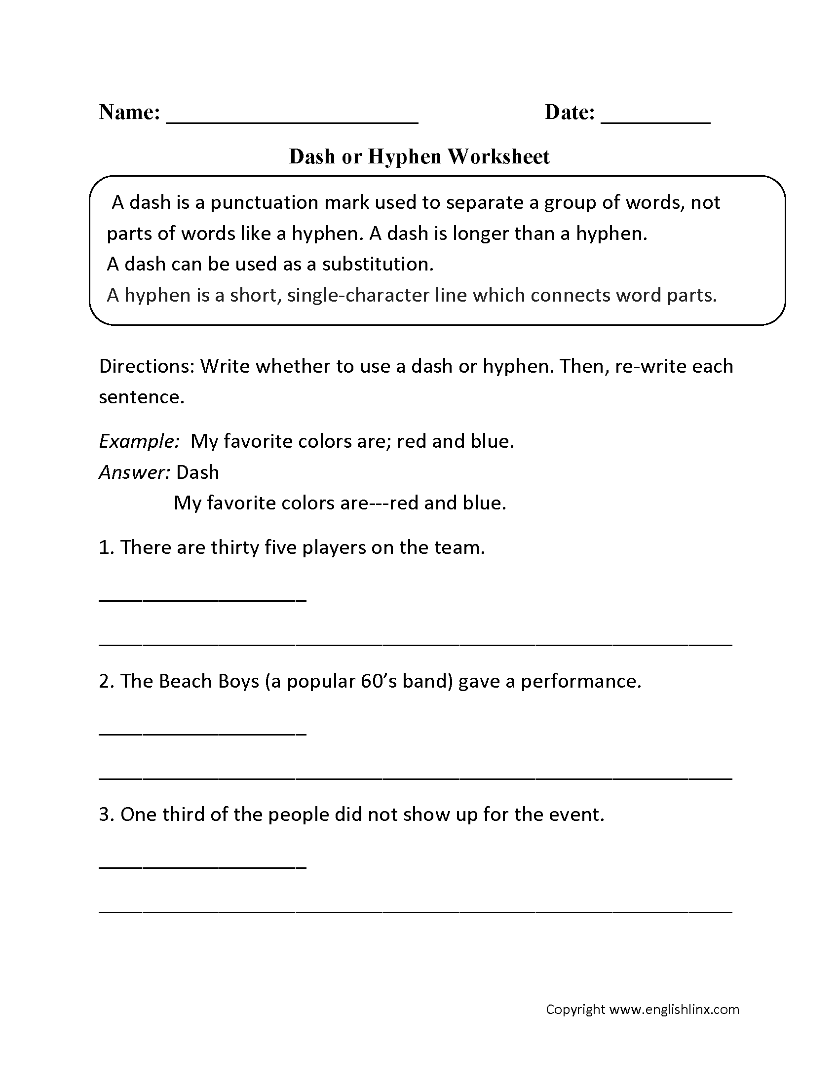 Uncategorized Then Vs Than Worksheet punctuation worksheets dash worksheets