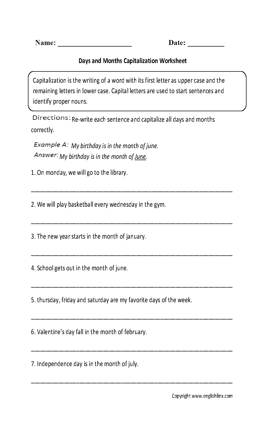 Capital Letters Worksheet Grade