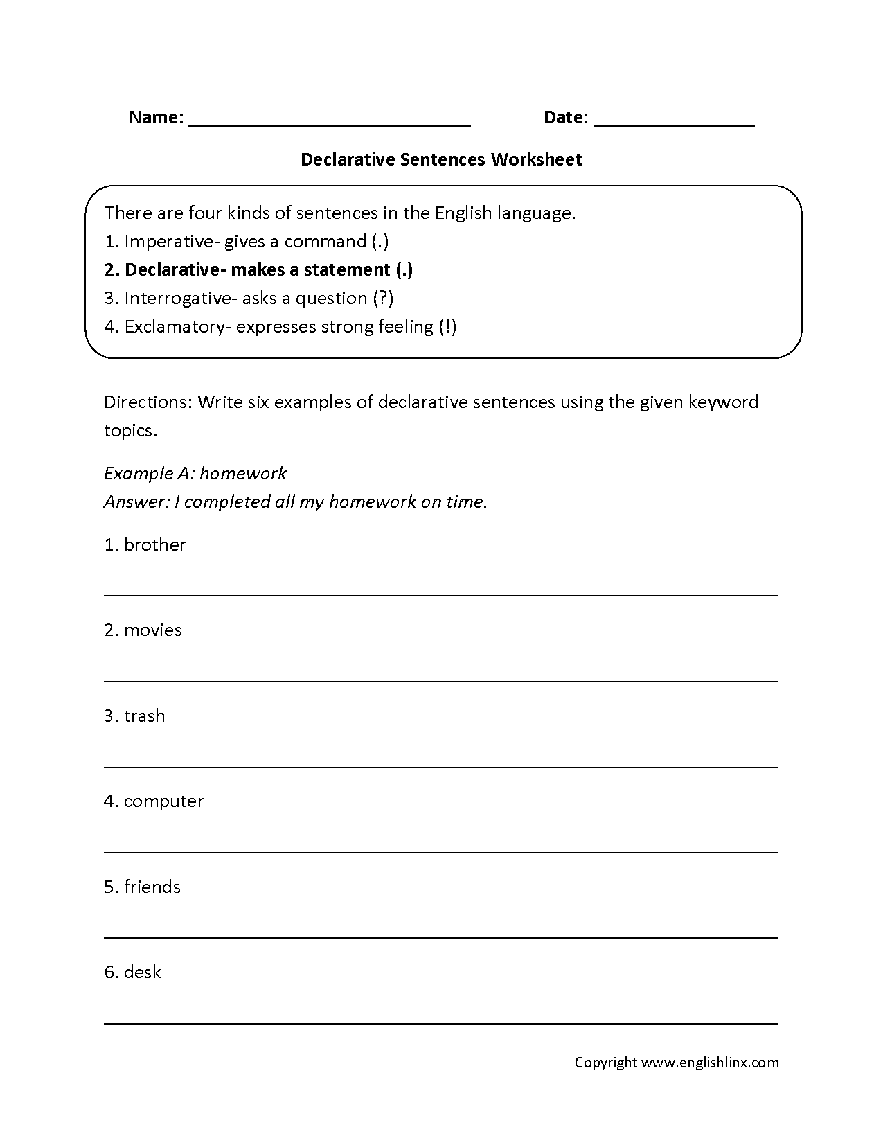 Printables Declarative And Interrogative Sentences Worksheets 4th Grade sentences worksheets types of declarative worksheets