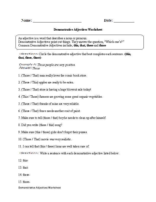 Regular Adjectives Worksheets : Demonstrative Adjectives ...