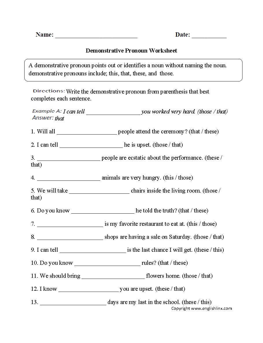 Parts Speech Worksheets | Pronoun Worksheets