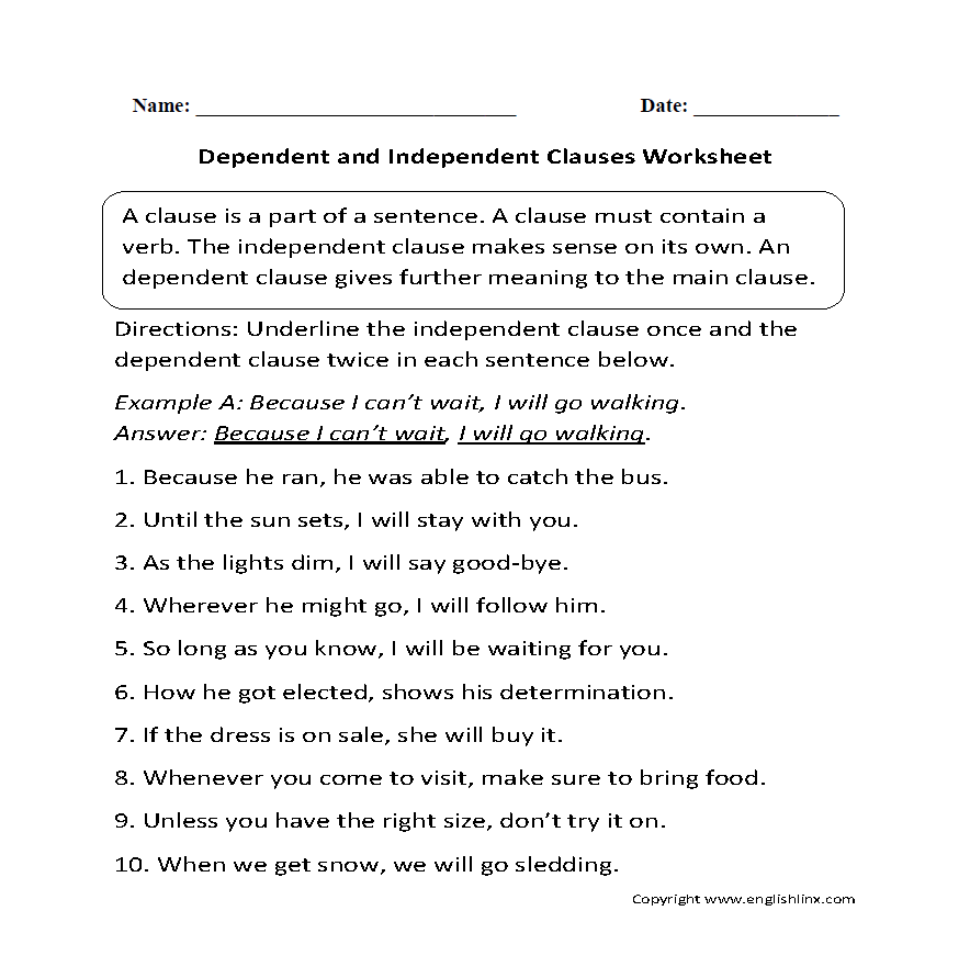 Dependent and Independent Clauses Worksheet