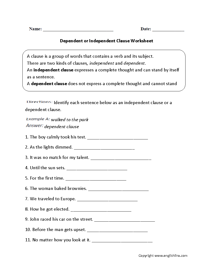 Worksheets Independent And Dependent Clauses Worksheets englishlinx com clauses worksheets dependent or independent worksheet