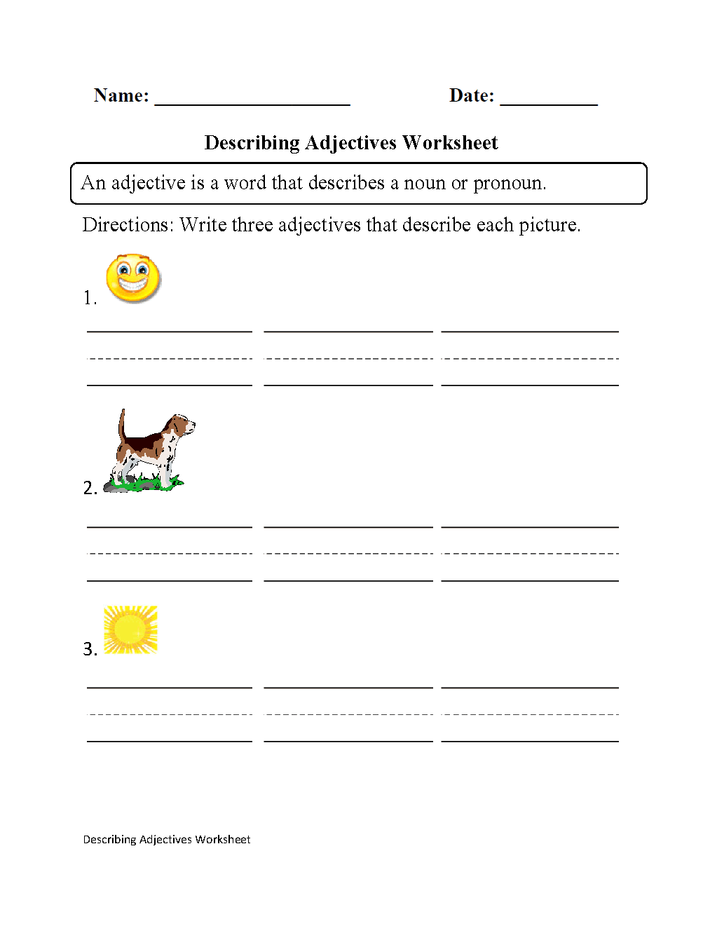 Regular Adjectives Worksheets | Describing Adjectives ...