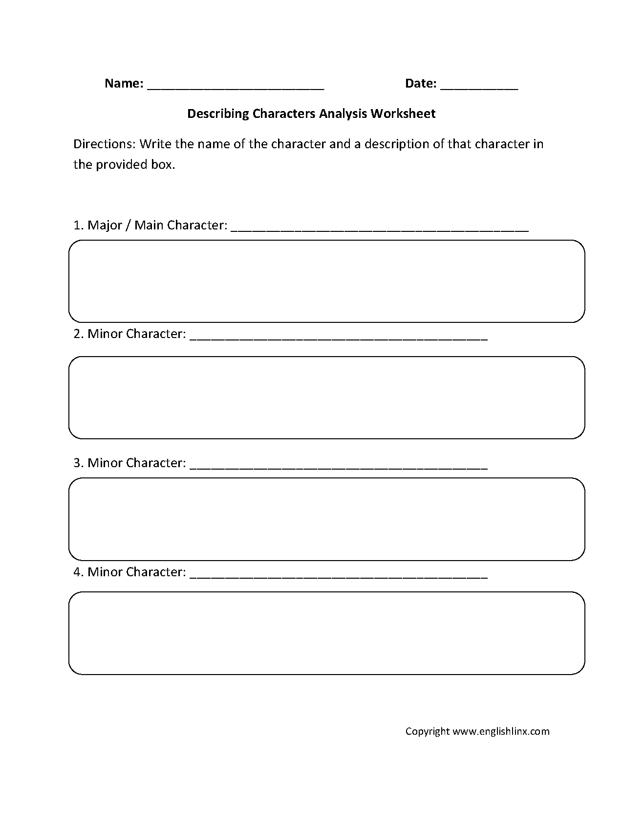 Englishlinx.com | Character Analysis Worksheets