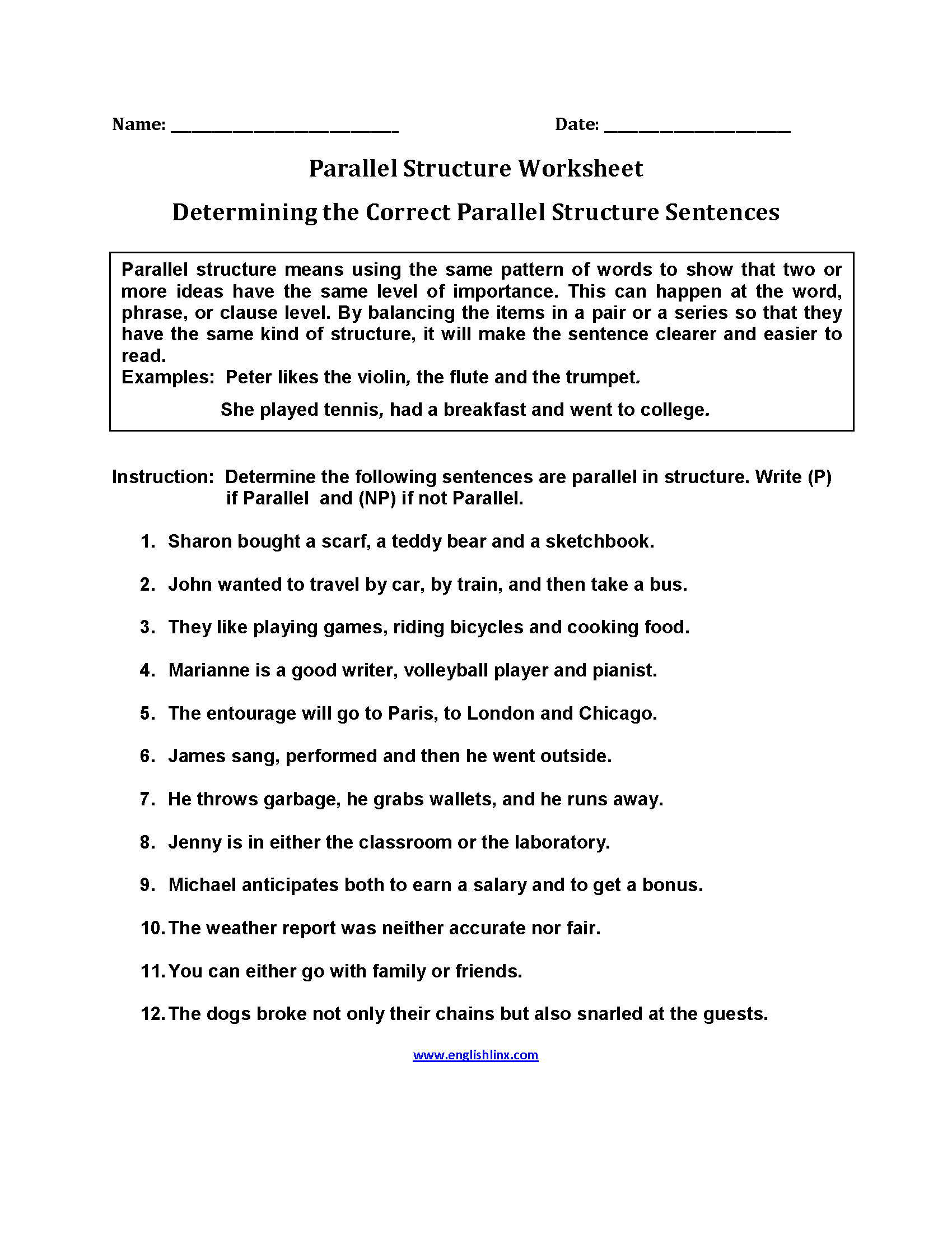 Parallel Structure Worksheets | Determining Correct Parallel ...