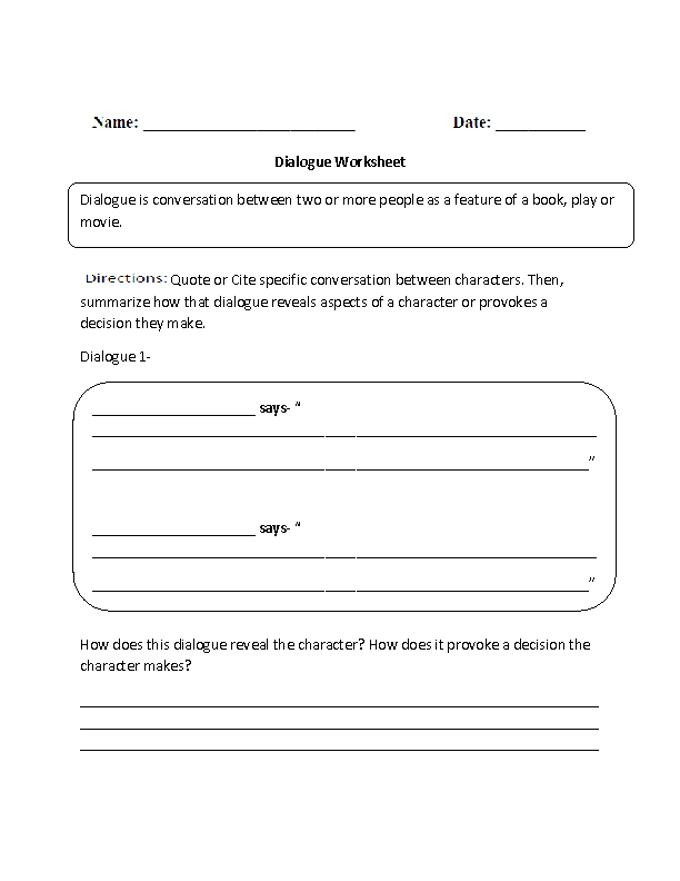 dialogue worksheet Termolak – Punctuating Dialogue Worksheet