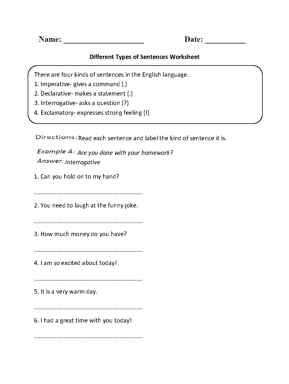 Types Of Sentences Worksheets Different Types Of Sentences Worksheet