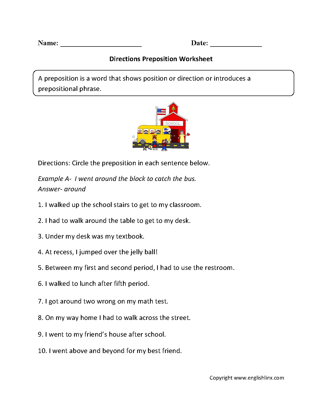 Worksheets Direction Worksheets parts speech worksheets preposition directions worksheet