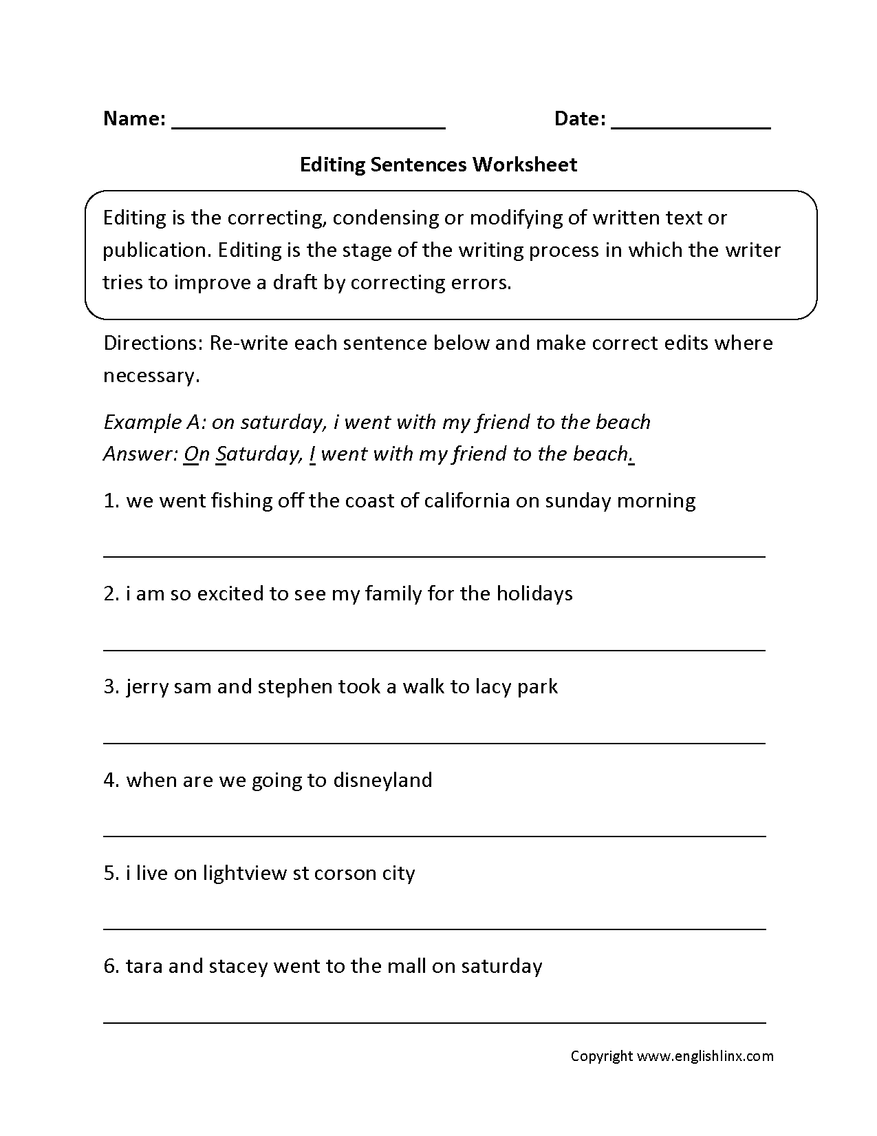 Writing Worksheets – Editing Worksheets