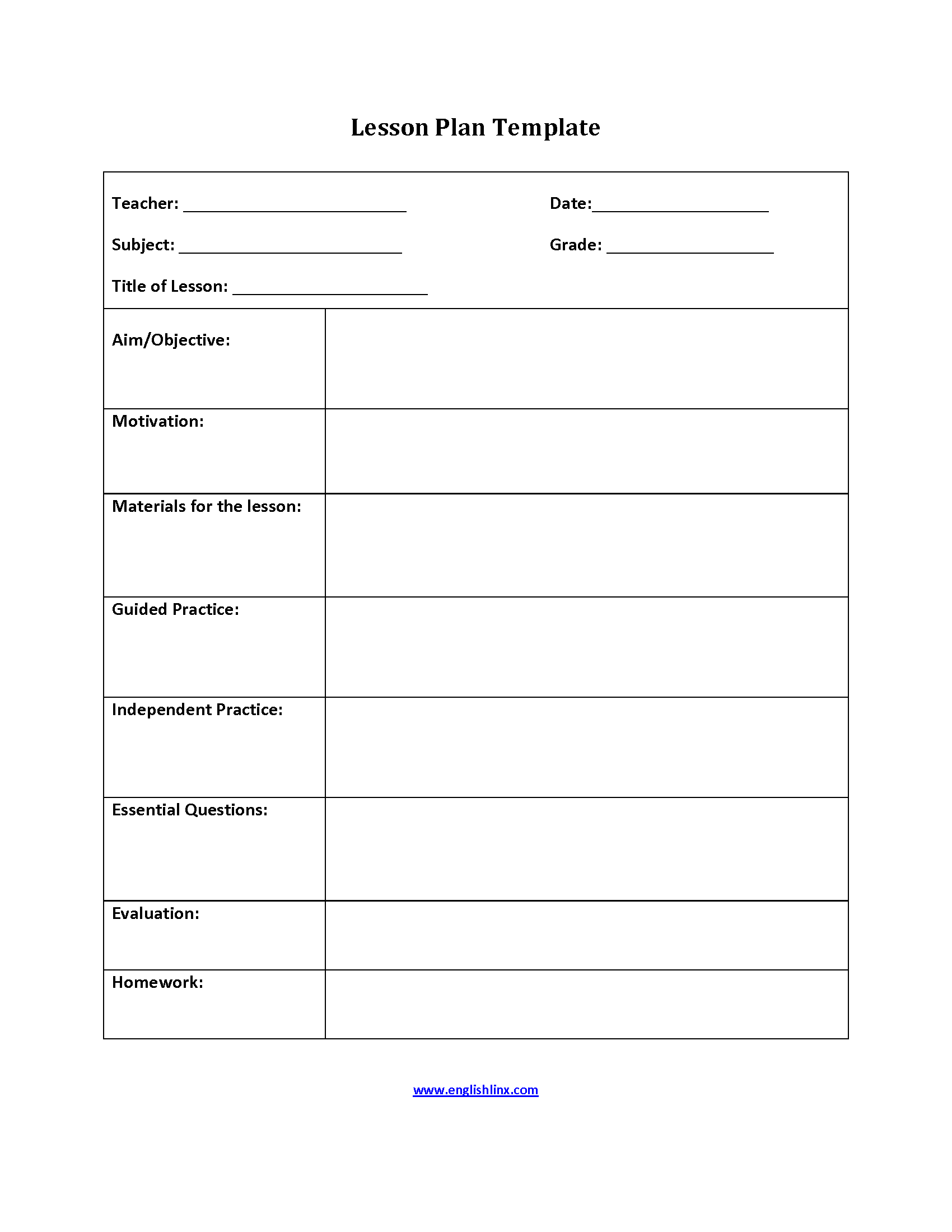 Englishlinxcom Lesson Plan Template - Literacy lesson plan template