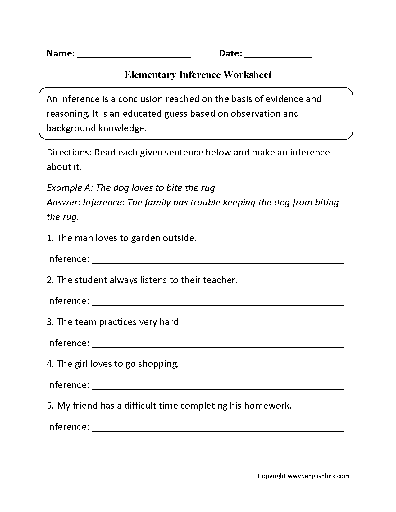 Reading Worksheets – Inference Worksheet 1