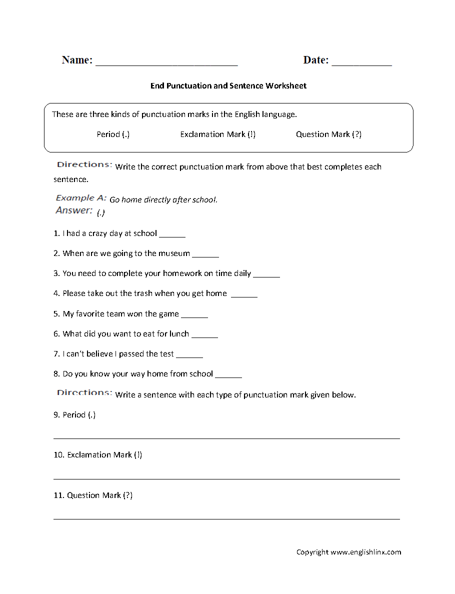 worksheet Punctuation Marks Worksheets englishlinx com punctuation worksheets end and sentence worksheet