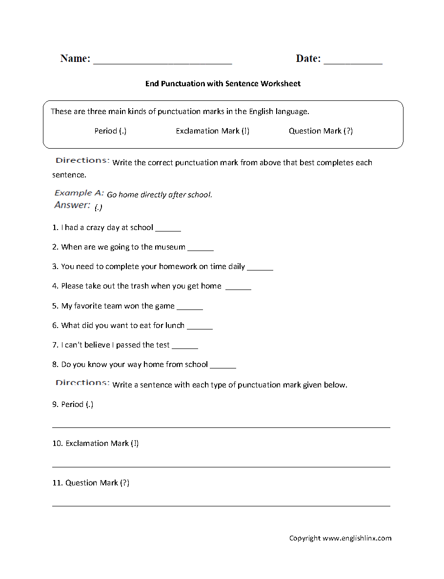 Punctuation Worksheets – Ending Punctuation Worksheets