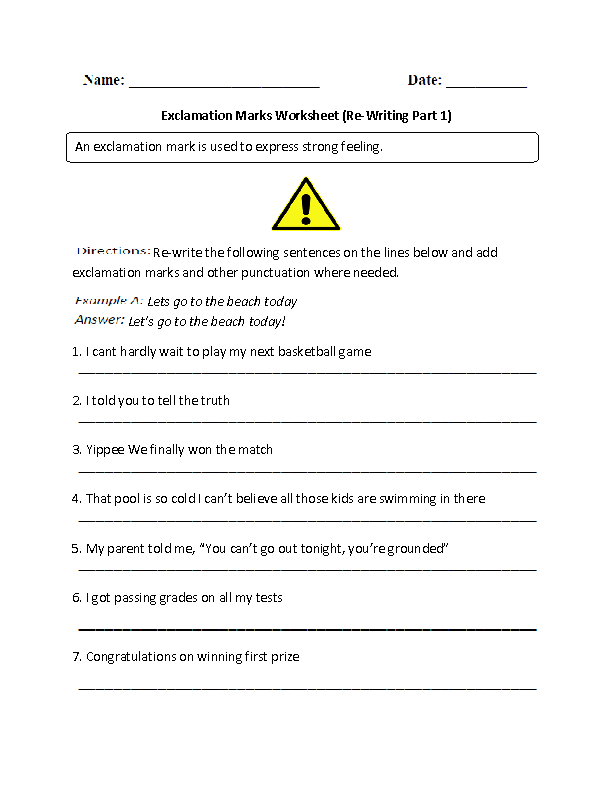 Re-Writing Exclamation Marks Worksheet