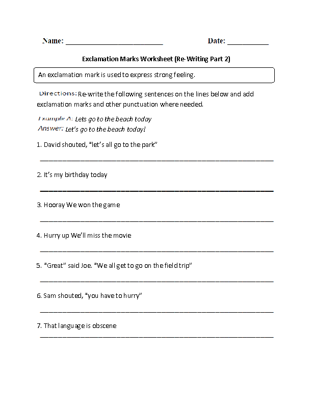 Exclamation Marks Worksheets