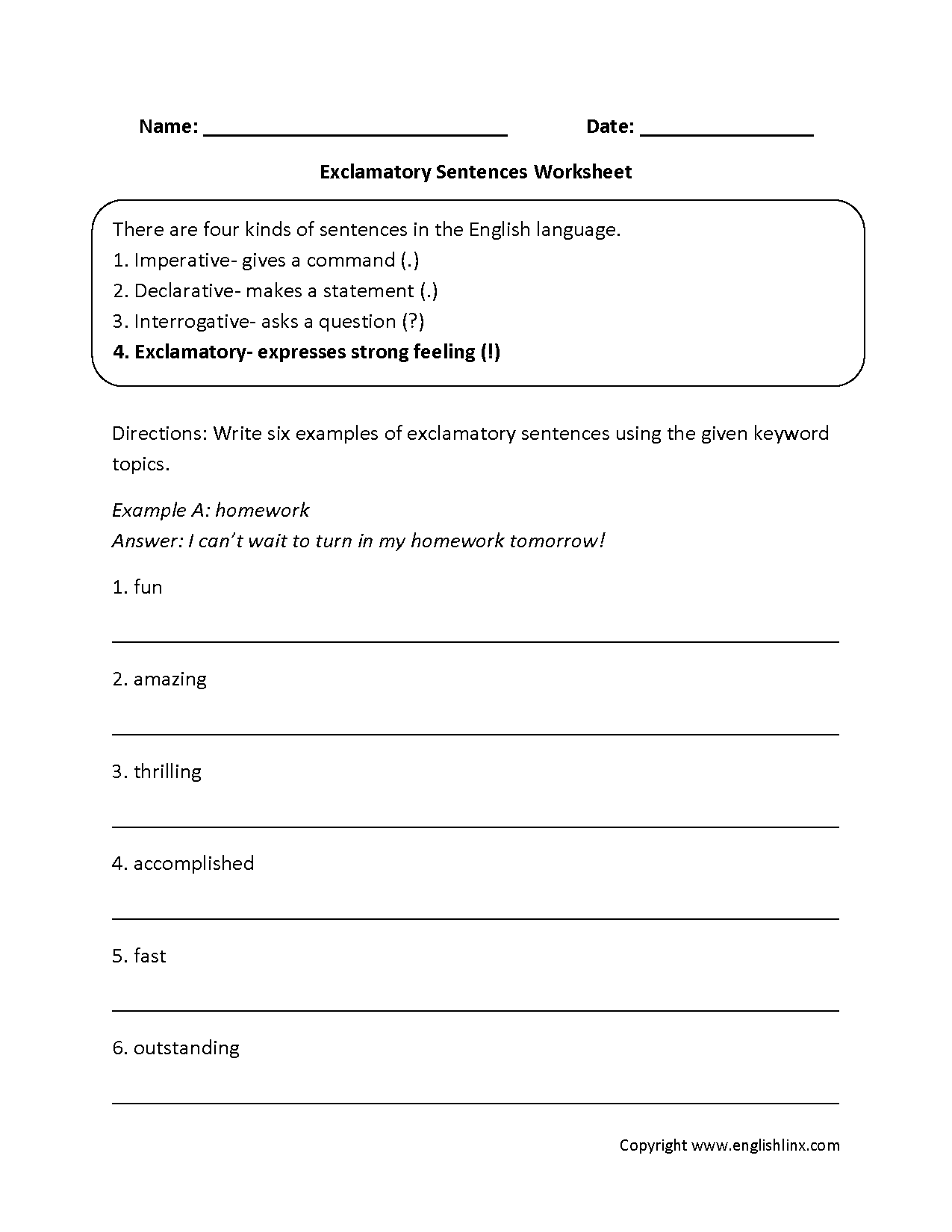 Printables Imperative And Exclamatory Sentences Worksheet sentences worksheets types of exclamatory worksheets