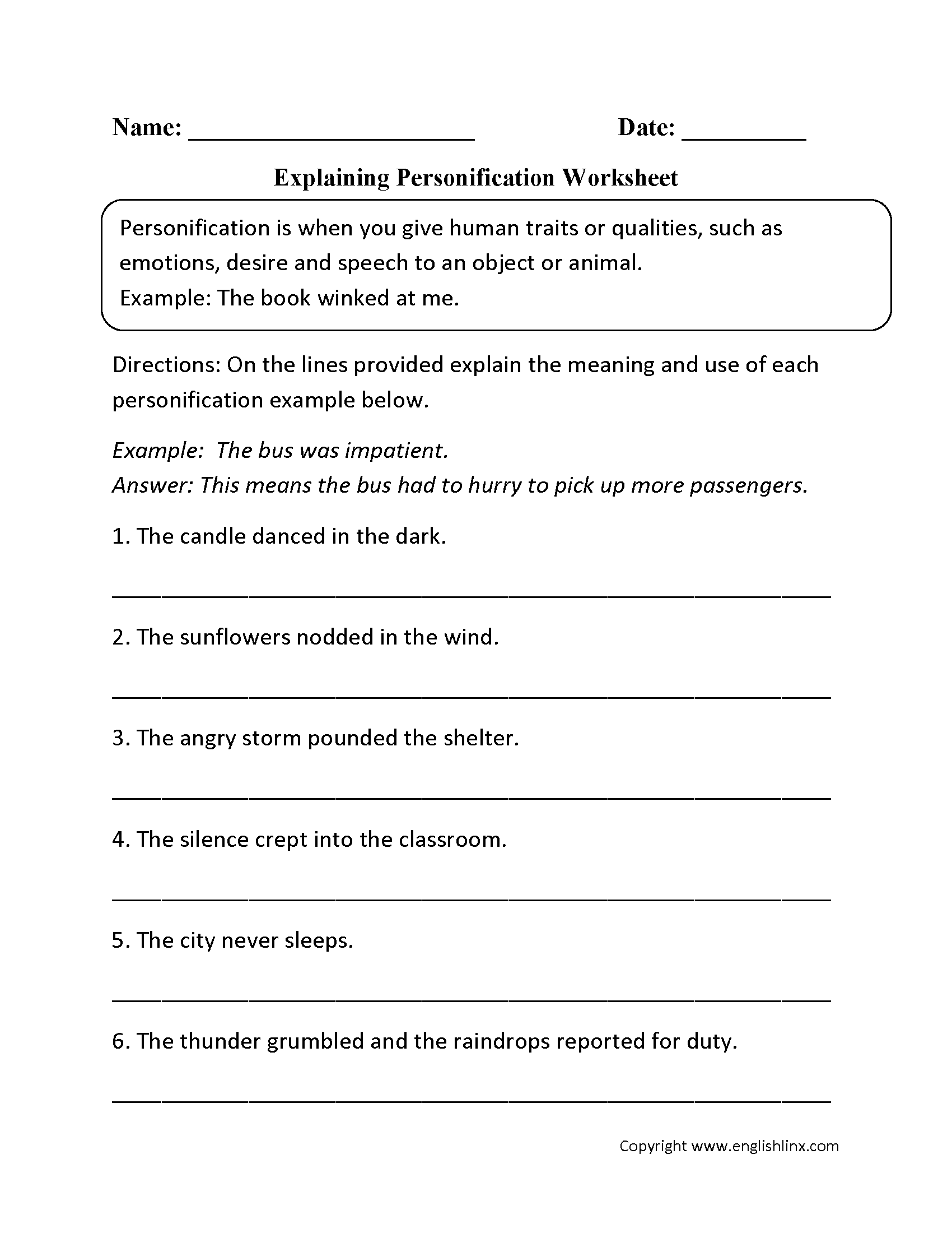 Worksheets Personification Worksheet figurative language worksheets personification worksheets
