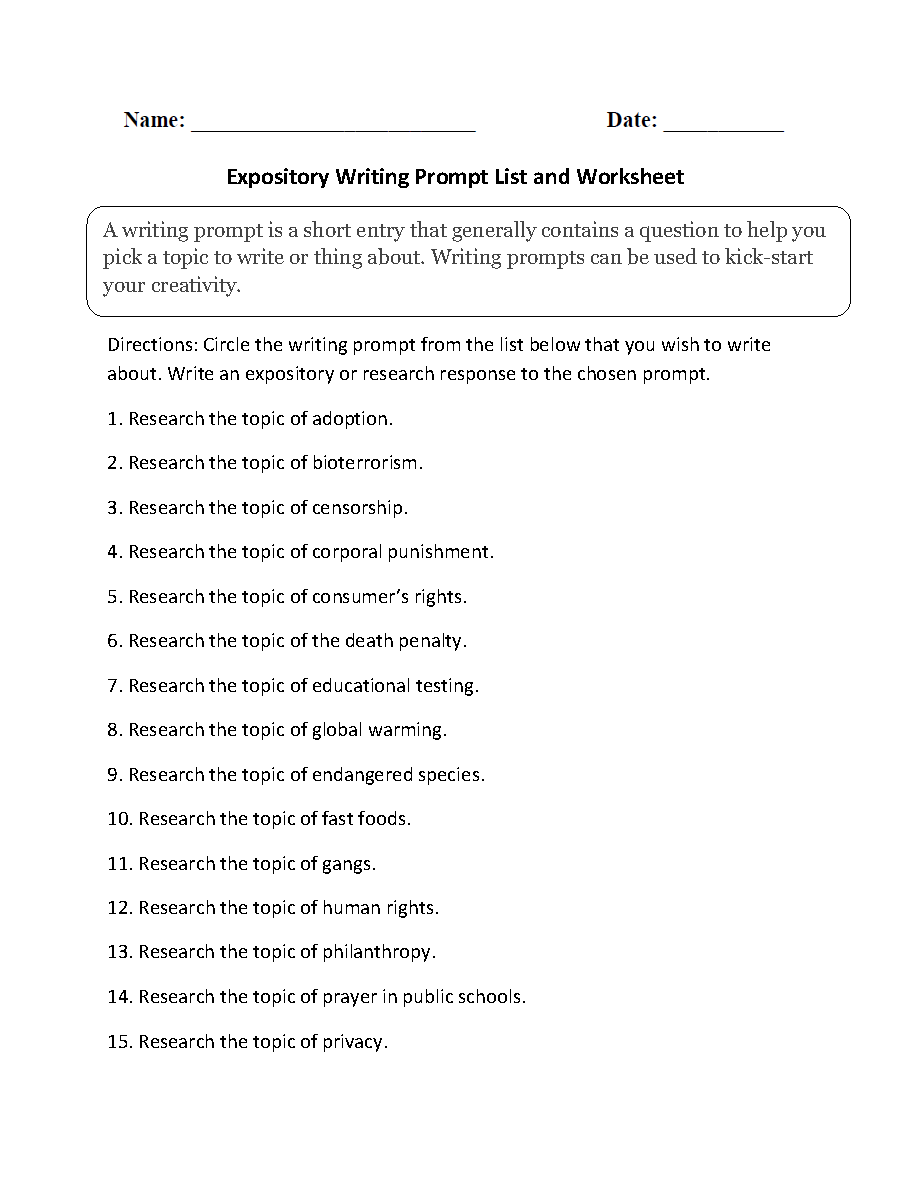 Writing Prompts Worksheets | Informative and Expository Writing ...