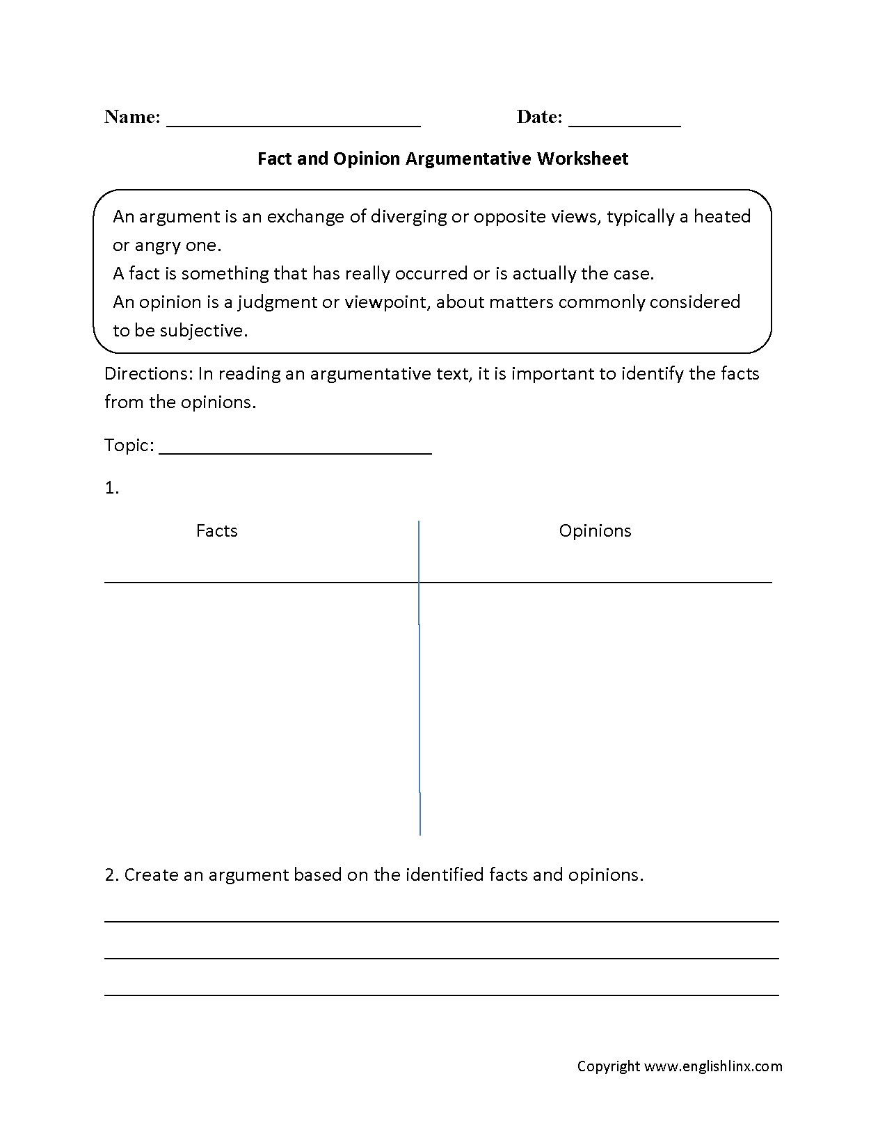 worksheet Facts And Opinions Worksheet reading worksheets argumentative fact and opinion worksheets