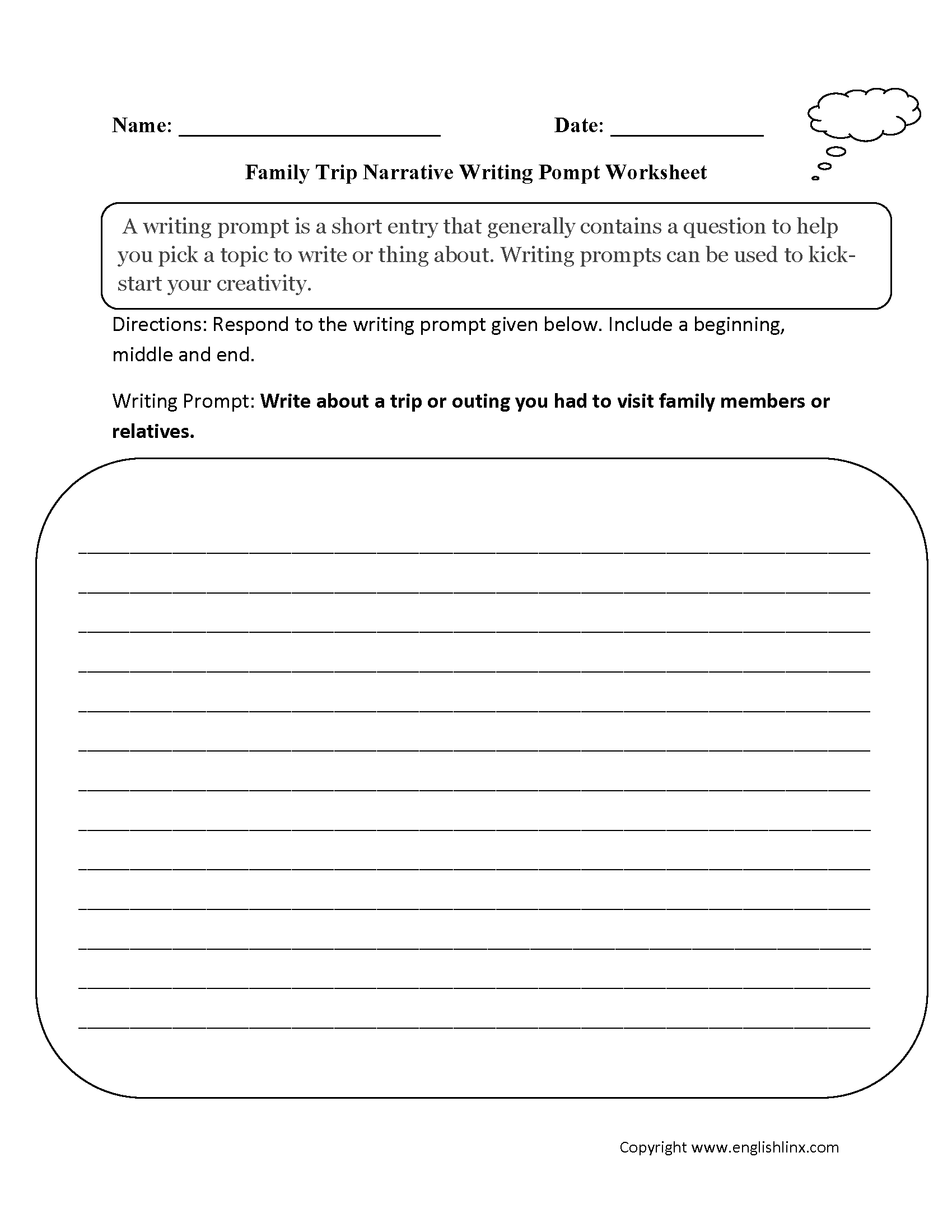 writing prompts worksheets narrative writing prompts worksheets family narrative writing prompt worksheet